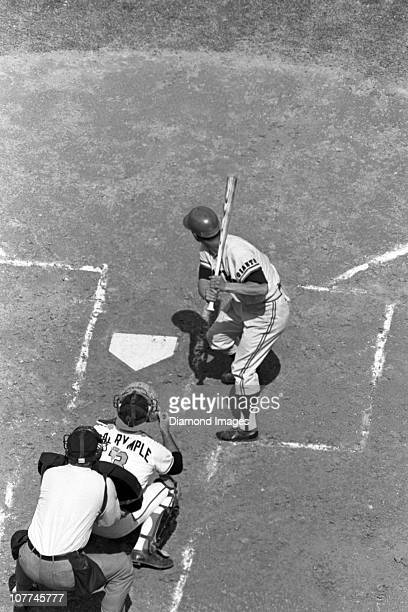 An overhead view as firstbaseman Sadaharu Oh of the Tokyo Giants of the Japanese Central League strides into a pitch during a Spring Training game in...
