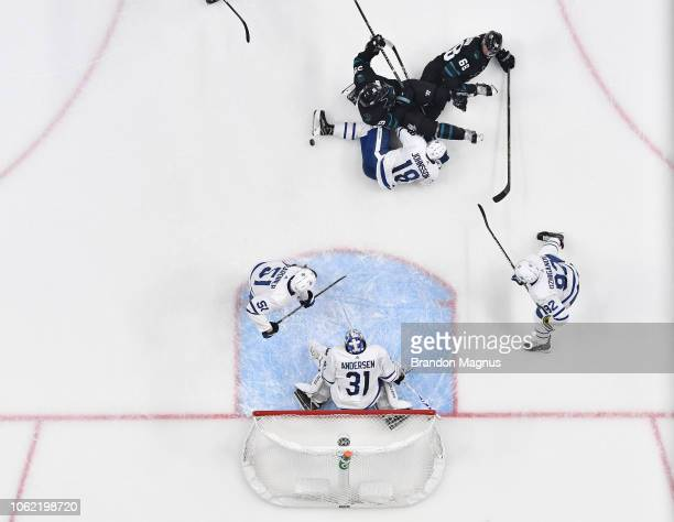 An overhead view as Frederik Andersen of the Toronto Maple Leafs defends the net against the San Jose Sharks at SAP Center on November 15, 2018 in...