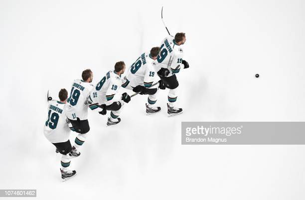An overhead view as Joe Thornton of the San Jose Sharks skates during warmups against the Los Angeles Kings at SAP Center on December 22 2018 in San...
