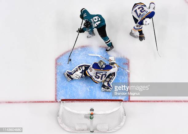 An overhead view as Logan Couture of the San Jose Sharks scores a goal against Jordan Binnington of the St Louis Blues in Game Two of the Western...