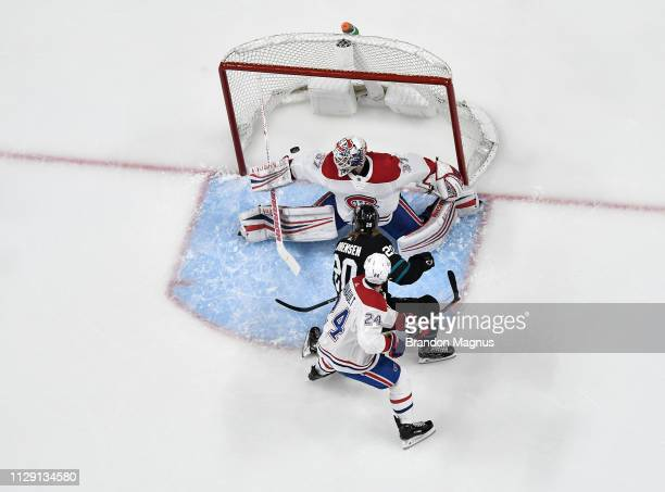 An overhead view as Marcus Sorensen of the San Jose Sharks scores a goal against Antti Niemi of the Montreal Canadiens at SAP Center on March 7 2019...