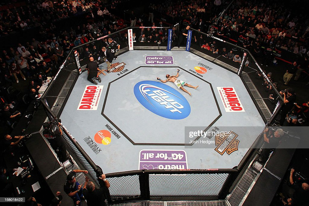 An overhead view as Matt Brown (white shorts) reacts after knocking out Mike Swick during the UFC on FOX event on December 8, 2012 at Key Arena in Seattle, Washington.