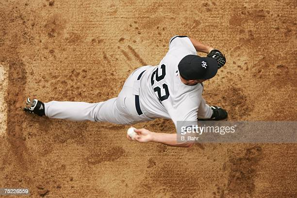 An overhead view as sStarting pitcher Roger Clemens of the New York Yankees warms up in the bullpen prior to a game against the Colorado Rockies on...