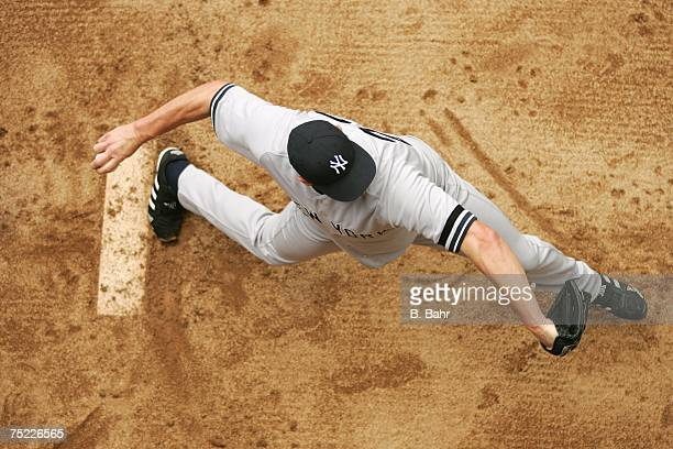 An overhead view as starting pitcher Roger Clemens of the New York Yankees warms up in the bullpen prior to a game against the Colorado Rockies on...