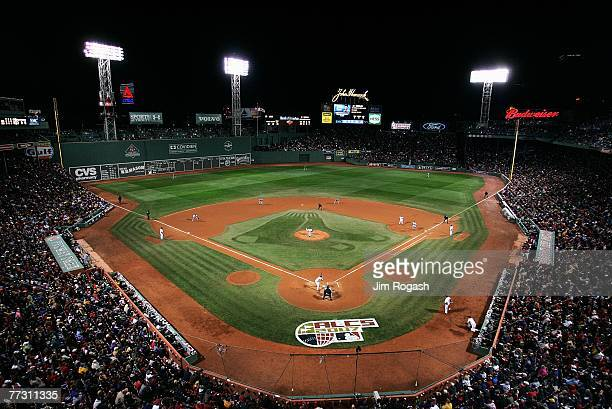 An overhead view as the Boston Red Sox play the Cleveland Indians in Game One of the American League Championship Series at Fenway Park on October 12...