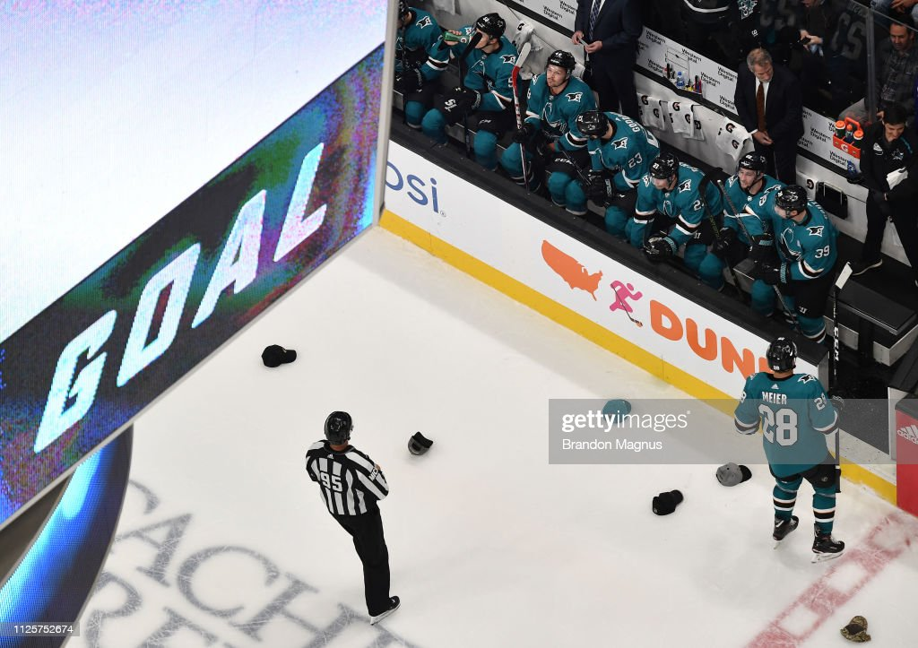 An overhead view as the San Jose Sharks celebrate Joe Thornton s hat ... 0c4bb7edc