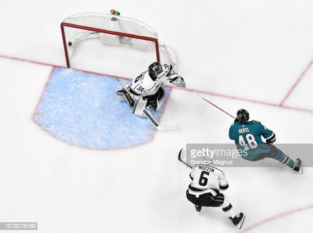 An overhead view as Tomas Hertl of the San Jose Sharks scores a goal against Jack Campbell of the Los Angeles Kings at SAP Center on January 7 2018...