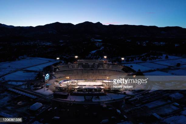 An overhead view of Falcon Stadium is seen prior to the 2020 NHL Stadium Series game between the Los Angeles Kings and the Colorado Avalanche on...