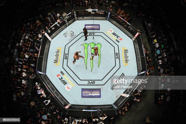 An overhead view of Francis Ngannou of Cameroon and Derrick Lewis in their heavyweight fight during the UFC 226 event inside TMobile Arena on July 7...