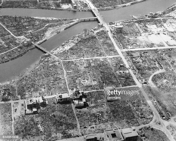 An overhead view of Hiroshima Japan showing total destruction resulting from dropping of the first Atomic bomb on August 6 1945 on Japan