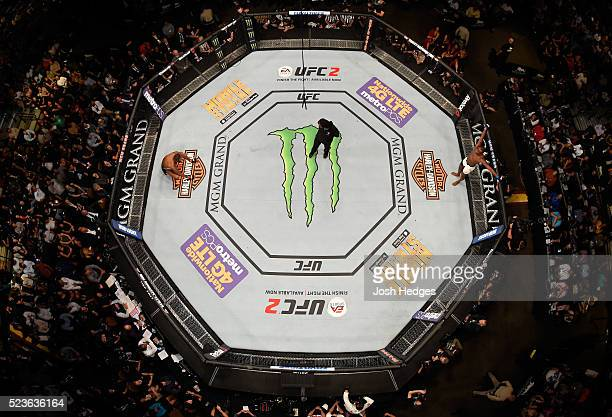 An overhead view of Jon Jones and Ovince Saint Preux preparing for the first round to begin in their interim UFC light heavyweight championship bout...
