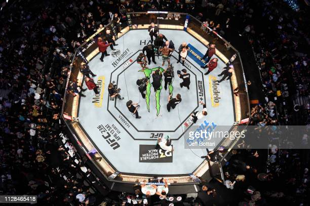 An overhead view of Kamaru Usman of Nigeria and Tyron Woodley in their UFC welterweight championship bout during the UFC 235 event at TMobile Arena...