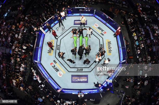 An overhead view of Khalil Rountree Jr. Celebrating his win over Gokhan Saki of Turkey in their light heavyweight fight during the UFC 226 event...