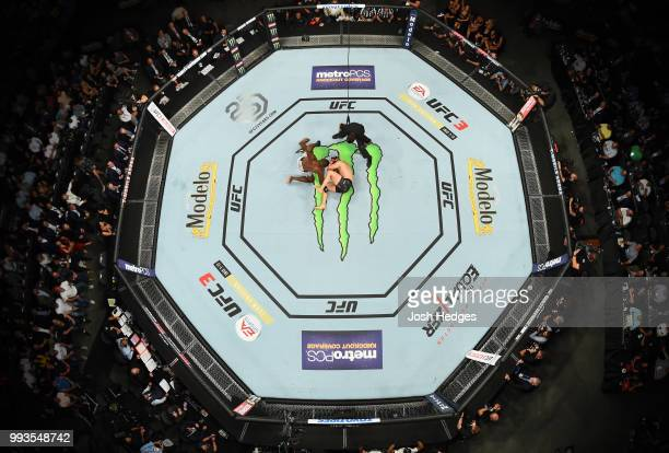 An overhead view of Khalil Rountree Jr. Punching Gokhan Saki of Turkey in their light heavyweight fight during the UFC 226 event inside T-Mobile...