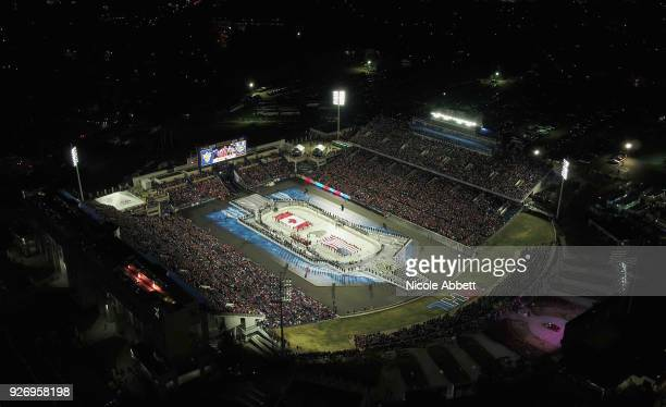 An overhead view of NavyMarine Corps Memorial Stadium is seen during the 2018 Coors Light NHL Stadium Series game between the Toronto Maple Leafs and...