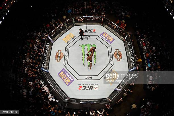 An overhead view of Ovince Saint Preux exchanges punches with Jon Jones in their interim UFC light heavyweight championship bout during the UFC 197...