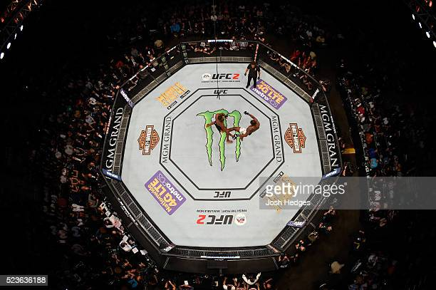 An overhead view of Ovince Saint Preux kicking Jon Jones in their interim UFC light heavyweight championship bout during the UFC 197 event inside MGM...