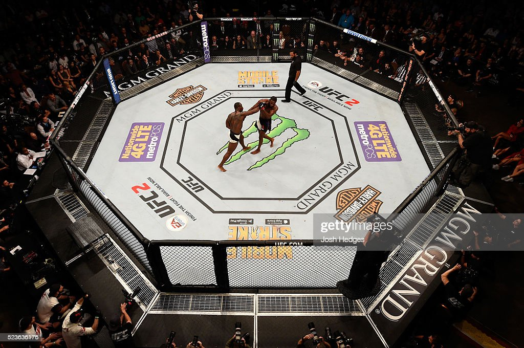 An overhead view of Ovince Saint Preux puncching Jon Jones in their interim UFC light heavyweight championship bout during the UFC 197 event inside MGM Grand Garden Arena on April 23, 2016 in Las Vegas, Nevada.