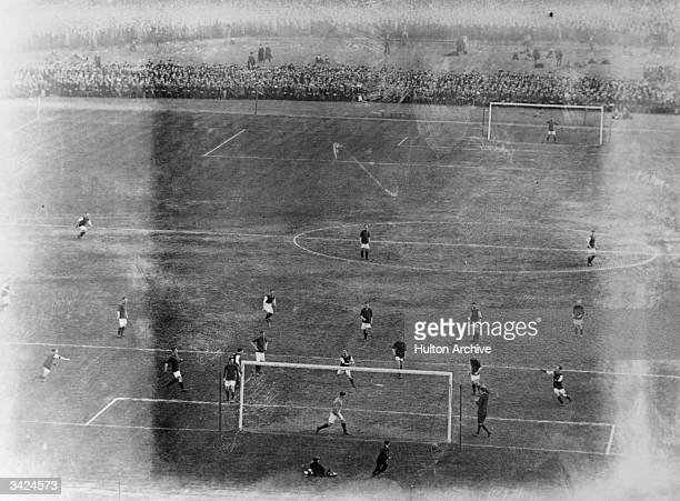 An overhead view of play at the F A Cup Final of 1914 held at Crystal Palace between Liverpool and Burnley Burnley won 1 0