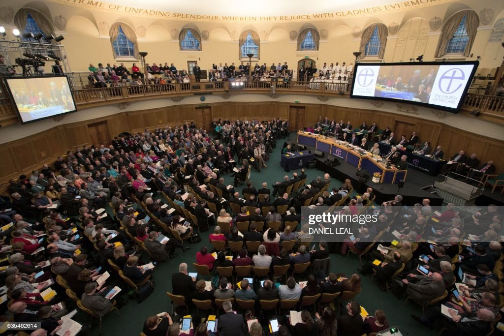 An overhead view of proceedings during a session on the third day of the Church of England General Synod at Church House in central London on February 15, 2017. Gay rights campaigners protested outside the Church of England's General Synod in London on Wednesday as Anglican bishops from around the world prepared to vote on a report ruling out accepting gay marriage. / AFP / Daniel LEAL