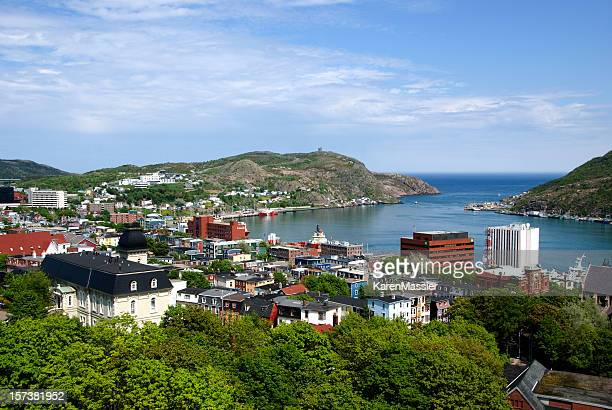 an overhead view of st johns barbour - st. john's newfoundland stock photos and pictures