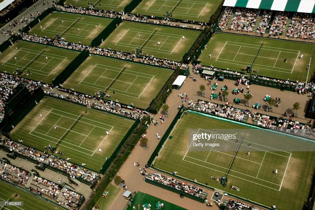 An overhead view of the All England Lawn Tennis and Croquet Club during day 13 of the Wimbledon Lawn Tennis Championships on July 9, 2006 in London, England.