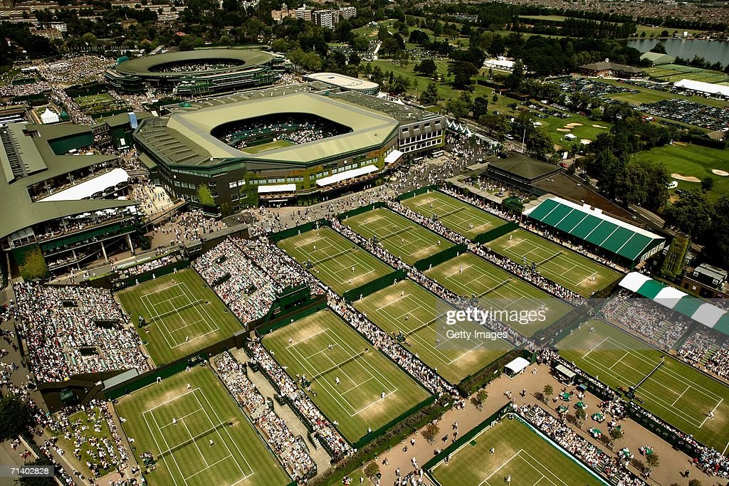 An overhead view of the All England Lawn Tennis and Croquet Club seen during day 13 of the Wimbledon Lawn Tennis Championships on July 9, 2006 in London, England.