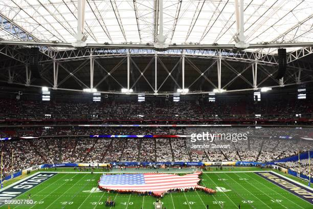 An overhead view of the American flag on the field during the national anthem prior to the PlayStation Fiesta Bowl between Penn State Nittany Lions...