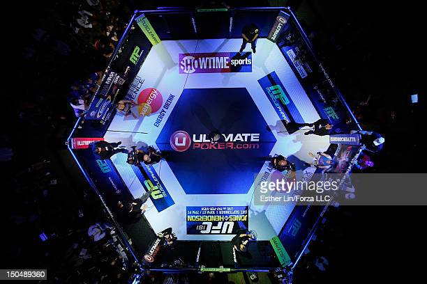 An overhead view of the cage as Ronda Rousey and Sarah Kaufman are introduced before the bout during the Strikeforce event at Valley View Casino...