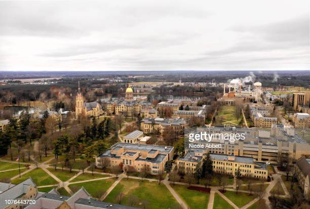 An overhead view of the campus of the University of Notre Dame is seen during the 2019 Bridgestone NHL Winter Classic game between the Boston Bruins...