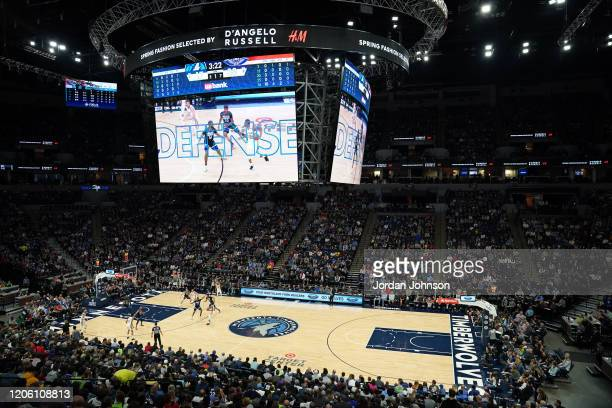 An overhead view of the court during the game between the Minnesota Timberwolves and the New Orleans Pelicans on March 8, 2020 at Target Center in...
