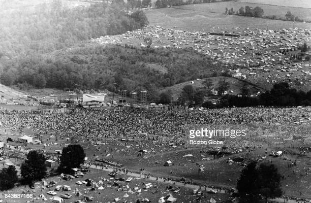 An overhead view of the crowd is pictured at the Woodstock Music Festival in White Lake, NY on Aug. 17, 1969.