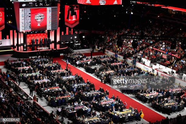 An overhead view of the draft floor during Round One of the 2017 NHL Draft at United Center on June 23, 2017 in Chicago, Illinois.