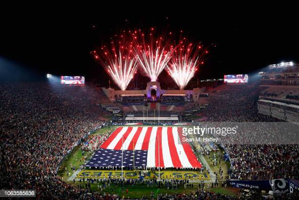 An overhead view of the flag during the pregame festivities before the start of the game between the Kansas City Chiefs and the Los Angeles Rams at...