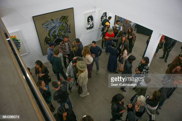An overhead view of the gallery space at OptiMystic A Brandon Boyd Pop Up Gallery Featuring He Tasya Van Ree Natalie Bergman Diana Garcia And DJ Set...