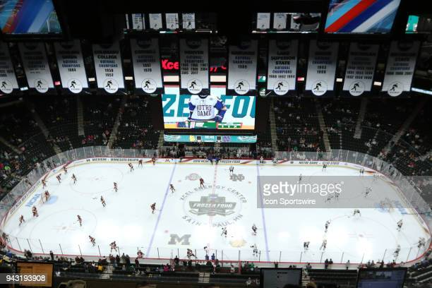 An overhead view of the ice during the Division I NCAA Ice Hockey Championship between the MinnesotaDuluth Bulldogs and the Fighting Irish of Notre...