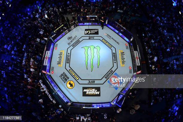 An overhead view of the ocatgon during the UFC 239 event at T-Mobile Arena on July 6, 2019 in Las Vegas, Nevada.