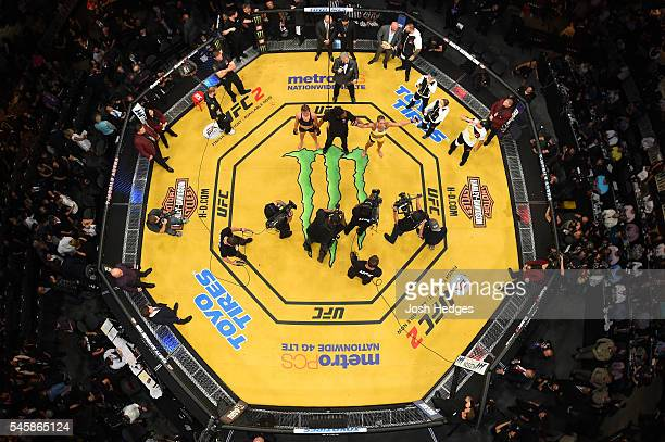 An overhead view of the Octagon as Amanda Nunes of Brazil is declared the winner over Miesha Tate in the main event UFC women's bantamweight...