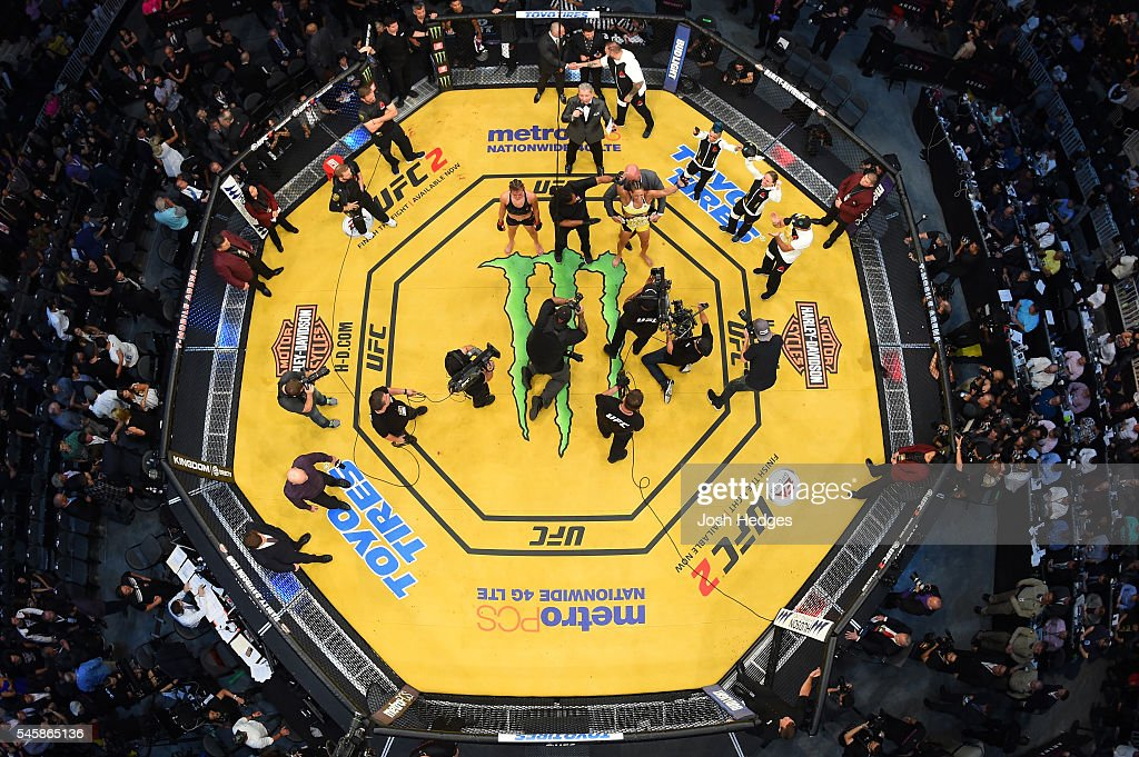 An overhead view of the Octagon as Amanda Nunes of Brazil is declared the winner over Miesha Tate in the main event UFC women's bantamweight championship during the UFC 200 event at T-Mobile Arena on July 9, 2016 in Las Vegas, Nevada.