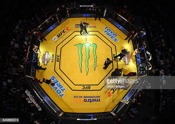 An overhead view of the Octagon as Bruce Buffer introduces Amanda Nunes before the main event UFC women's bantamweight championship bout during the...