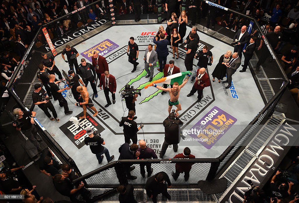 An overhead view of the Octagon as Conor McGregor of Ireland reacts to his victory over Jose Aldo of Brazil during the UFC 194 event inside MGM Grand Garden Arena on December 12, 2015 in Las Vegas, Nevada.