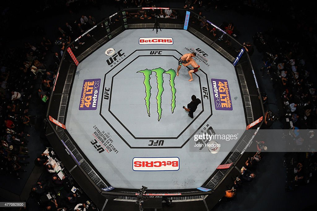 An overhead view of the Octagon as Efrain Escudero of Mexico attempts to submit Drew Dober of the United States in their lightweight bout during the UFC 188 event at the Arena Ciudad de Mexico on June 13, 2015 in Mexico City, Mexico.