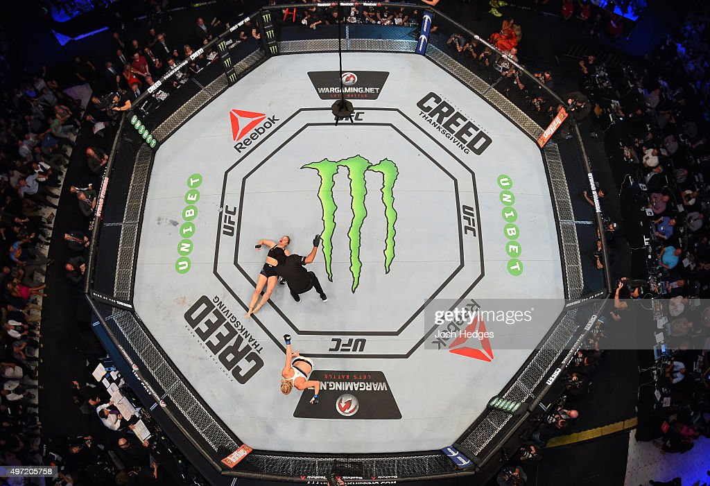 An overhead view of the Octagon as Holly Holm celebrates after her knockout victory over Ronda Rousey in their UFC women's bantamweight championship bout during the UFC 193 event at Etihad Stadium on November 15, 2015 in Melbourne, Australia.