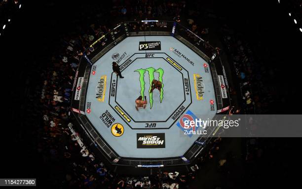 An overhead view of the octagon as Jon Jones and Thiago Santos of Brazil fight during the UFC 239 event at T-Mobile Arena on July 6, 2019 in Las...