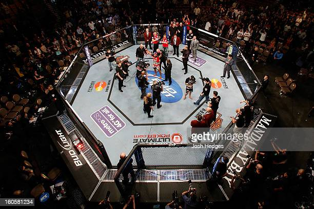 An overhead view of the Octagon as Jose Aldo is declared the victor by decision against Frankie Edgar after their featherweight title fight at UFC...