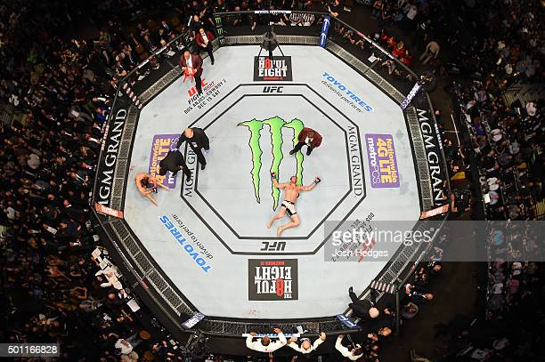 An overhead view of the Octagon as Luke Rockhold reacts to his victory over Chris Weidman during the UFC 194 event inside MGM Grand Garden Arena on...