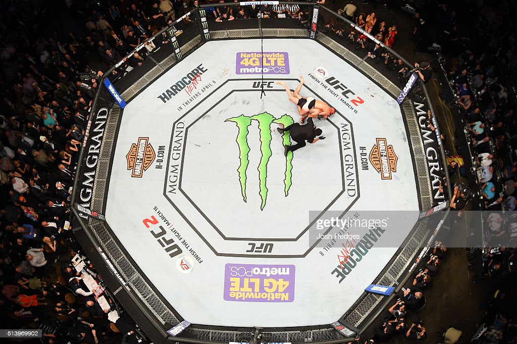 An overhead view of the Octagon as Nate Diaz attempts to submit Conor McGregor of Ireland in their welterweight bout during the UFC 196 event inside MGM Grand Garden Arena on March 5, 2016 in Las Vegas, Nevada.