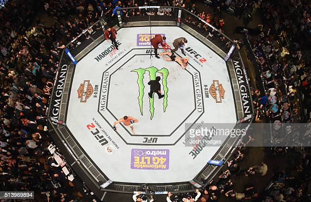 An overhead view of the Octagon as Nate Diaz reacts to his victory over Conor McGregor of Ireland in their welterweight bout during the UFC 196 event...