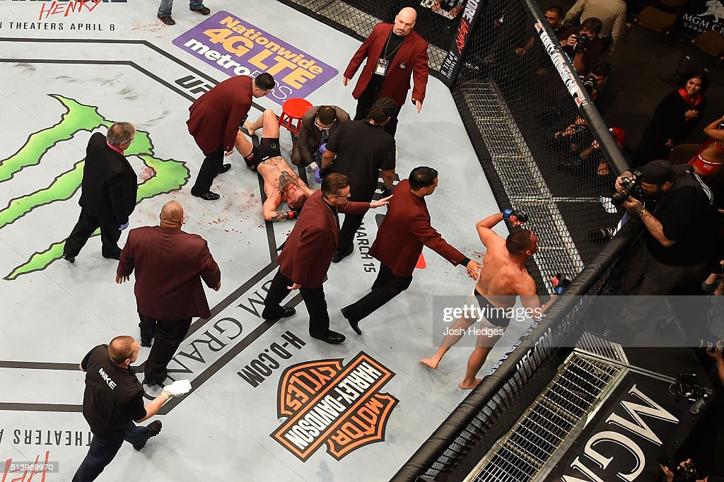 An overhead view of the Octagon as Nate Diaz reacts to his victory over Conor McGregor of Ireland in their welterweight bout during the UFC 196 event inside MGM Grand Garden Arena on March 5, 2016 in Las Vegas, Nevada.