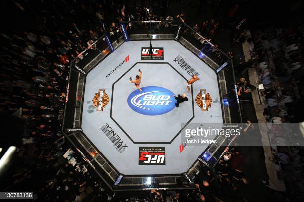 An overhead view of the Octagon as Nick Diaz reacts after defeating BJ Penn by decision during the UFC 137 event at the Mandalay Bay Events Center on...